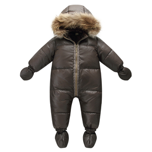 Image 1 - Top qualität winter marke jacke mode braun 9M  36M infant mantel 90% ente unten schnee tragen baby junge schneeanzug mit natur pelz haube