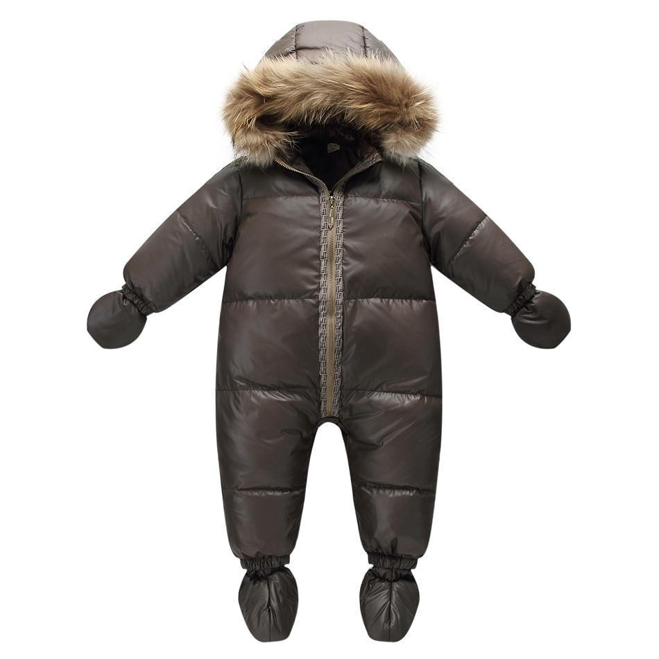 Najwyższej jakości kurtka zimowa marki moda brązowy 9M-36M niemowlę płaszcz 90% puch kaczy śnieg nosić dziecko chłopca kombinezon narciarski z kapturem futra przyrody