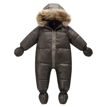 Top quality winter brand jacket fashion brown 9M  36M infant coat 90% duck down snow wear baby boy snowsuit with nature fur hood