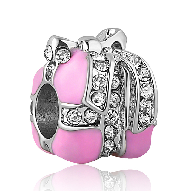 Free Shipping Christmas Gift 1pc Silver Pink Present Gift Box Big Hole Bead  Charms Fit European