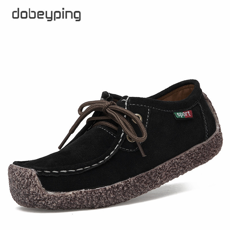 dobeyping 2018 New Spring Shoes Woman Cow   Suede     Leather   Flats Women Shoes Lace-Up Women's Loafers Moccasins Female Oxfords Shoe