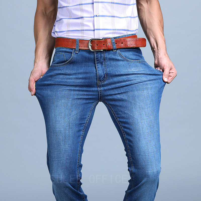 Sulee Brand Business Jeans 2017 Spring And Summer New High-quality Cotton Fashion Slim Straight Jeans Males Size 35 38 40