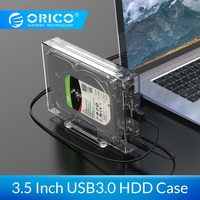 ORICO SATA to USB3.0 HDD Enclosure High Speed 5Gpbs Transparent 3.5 inch Hard Disk Case Support UASP HDD Docking Station|HDD Enclosure| |  -