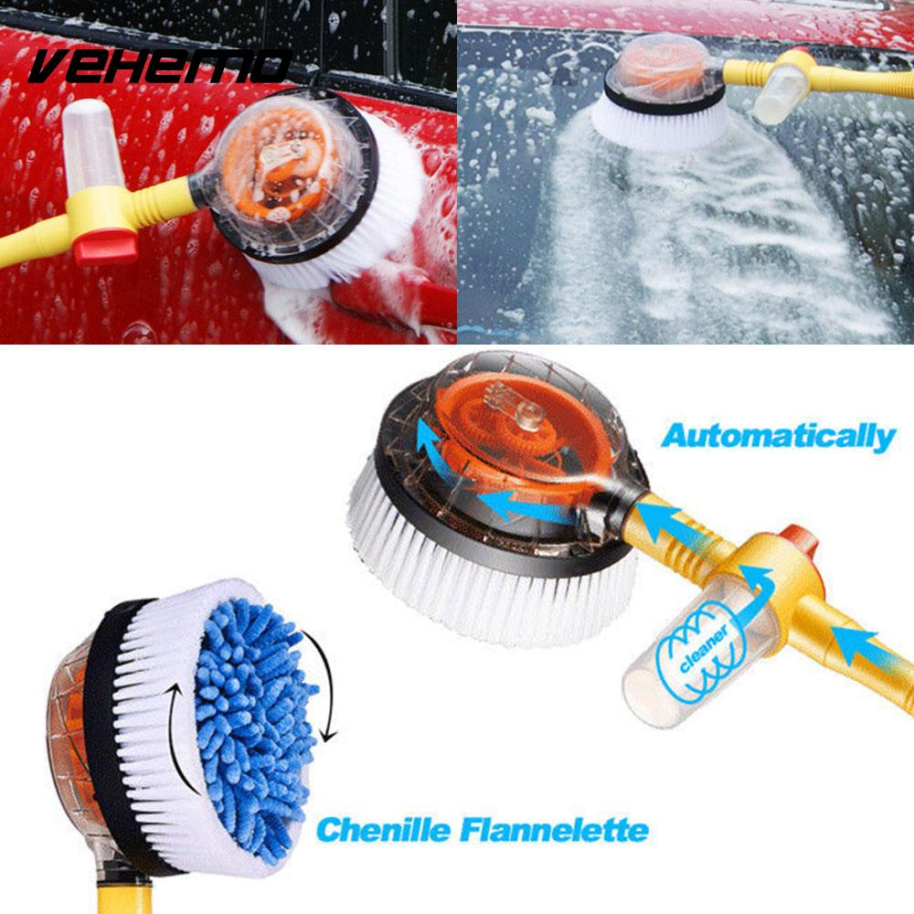 Vehemo Retractable Nozzles Automatic Washing Brush Clean Automatic Rotate Brush Portable Electric Car Wash Brush Foam