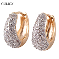 GULICX Exaggerated Brand Fashion Women Big Earings  Gold Platinum Plated Hoop Huggie Earring White Zirconia Jewelry 2016 E119