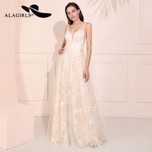 Alagirls A-Line Lace Prom Dresses 2019 V-Neck Vestido de fiesta Illusion Backless Formal Party Robes bal Kleid