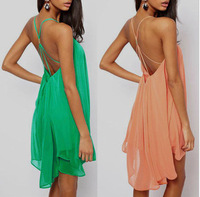 Ebay European Sexy Back Fine Camisole Metal Buckle Crossing Hollow Out Sleeveless Solid Color Chiffon Dress