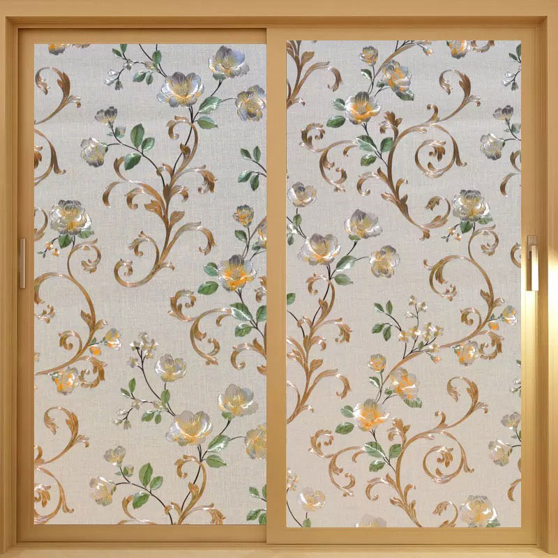 Colors peony 3D embossing Home Window Cover Film No-Glue Static stained Decorative Privacy Glass Sticker 40/45/50/60/75/80*200cm