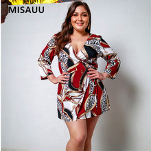 XL-4XL Big 2019 Women Sexy Mini Dress Print Long Sleeve Party Casual Club Ladies Costume Femme Clothes Fashion Plus Size