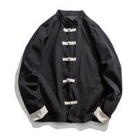 Loose Jacket Men Cotton Casual Jacket Chinese Style Frog Closure Button Parchwork Cardigan Overcoat Jaqueta Masculina 5XL JK096