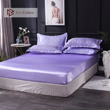 Liv-Esthete Wholesale Luxury 100% Satin Silk Lilac Fitted Sheet Silky Mattress Cover Queen King Decor Bed Sheets For Women 1pcs