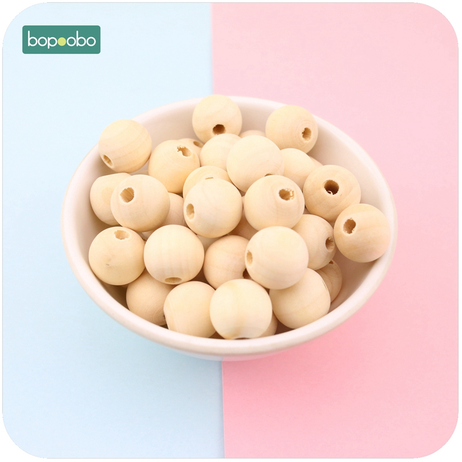 Bopoobo Wood Beads Natural Maple Wooden Baby Teething Beads 12mm - 20mm Beads For Jewelry DIY Making Toys Baby Teether