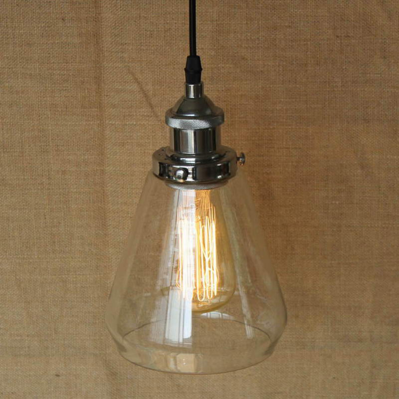 LOFT Industrial Hanging clear glass shade Pendant Lamp with Edison Light bulb Kitchen Lights and Cabinet Lights hanging clear glass horn shade pendant lamp with edison light bulb kitchen lights and cabinet lights