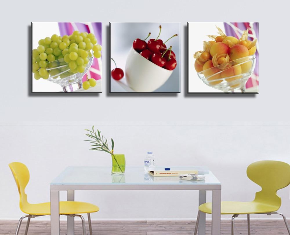 3 paneles sin marco fruta cocina restaurante de pared - Cuadros de cocina ...
