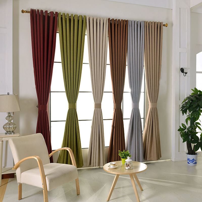 new arrival linen custom made solid color design blue grey window drape hook style fabric blackout curtain