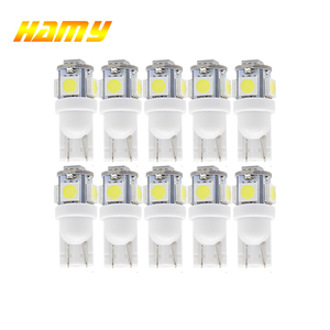 10x T10 W5W Car LED Signal Blub Interior Reading Light Super Bright Auto Wedge Side License Plate Trunk Luggage Lamp 12V 5SMD(China)