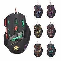 5500 ديسيبل متوحد الخواص الألعاب ماوس الفئران للكمبيوتر اعبين برو 7 زر الصمام الضوئي USB السلكية H100