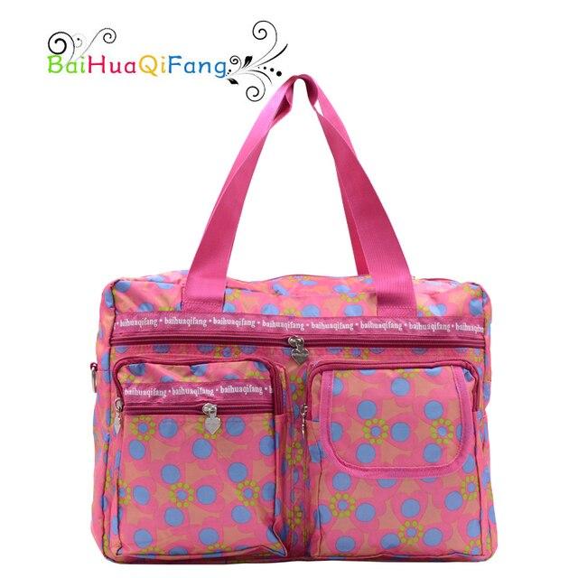 Дизайнер цветок печати женщины сумку с карманами розовый большая сумка для матери доказательство воды ПВХ складной багаж сумки для путешествий