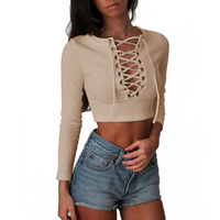 Nadafair Long Sleeve Laced Up Criss Cross Short T Shirt White Black Grey Khaki Casual Women