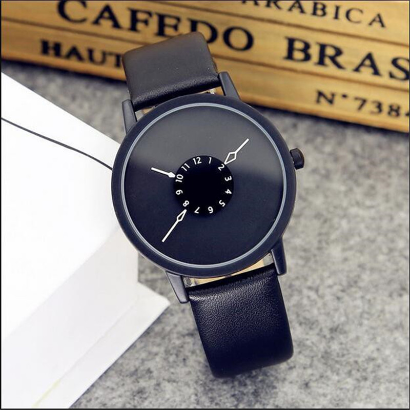 Hot Fashion Creative Watches Women Men Quartz-watch Brand Unique Dial Lovers' Watch Leather Wristwatches Clock Relogio Masculino