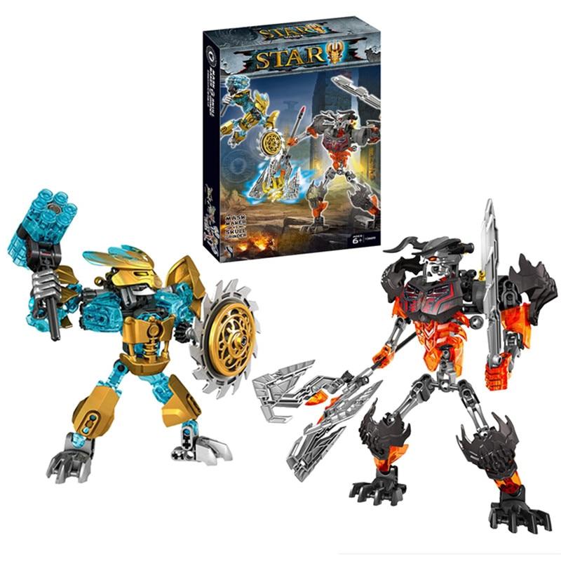 BIONICLE Mask Maker vs. Skull Grinder Biochemical Warrior Building Block set  Robot Model Bricks Compatible with 70795 Kids Toys-in Blocks from Toys & Hobbies