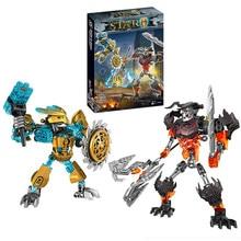 BIONICLE Mask Maker vs. Skull Grinder Biochemical Warrior Building Block set  Robot Model Bricks Compatible with 70795 Kids Toys
