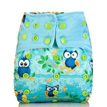 1pcs Reusable Baby AIO Cloth diapers Cover With 3 layers Microfiber Inserts For Baby Boys & Girls Washable Cloth Diaper Nappy