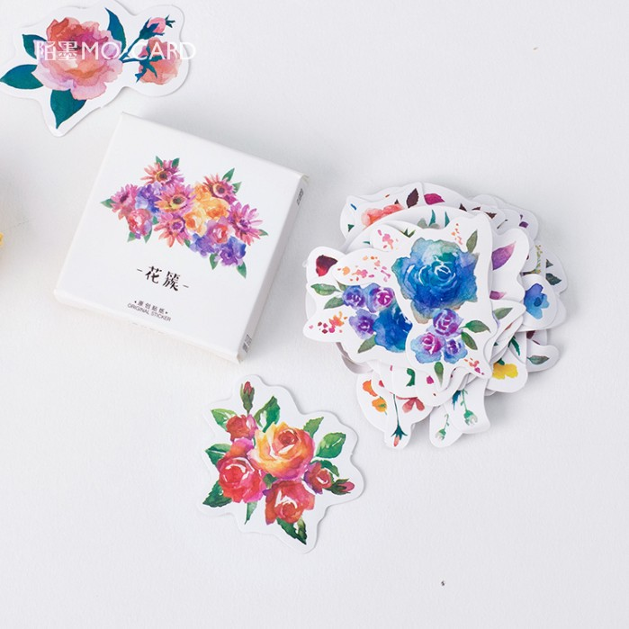 45 pcs/pack Blooming Flower Decorative Stickers Adhesive Stickers DIY Decoration Craft Scrapbooking Stickers Gift Stationery 4 pcs pack retro little prince vintage folding stamps stickers diy paper decorative stickers europe style stationery stickers