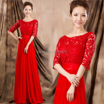 2017 Glamorous Lace Bridesmaid Dresses with Half Sleeves Wedding Party Dress Evening Bride Ball Prom Dress Red Formal Gown