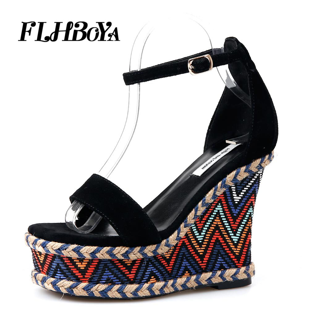 Women Juiciest Espadrille Buckle Strap Wedges Heeled Sandal High Heels Fashion Summer Black Casual Femme Platform Sandals Shoes criss cross espadrille wedges