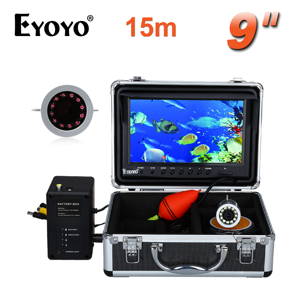 EYOYO 9 Video Fish Finder HD 1000TVL 15M Infrared Fishing Camera Full Silver Fish CAM Underwater Invisible Free Sunvisor 2 4g wireless fish finder underwater fishing camera video free soft app 50m underwater breeding monitoring for fish searching