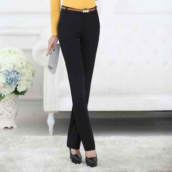 Lenshin Plus Size Formal Adjustable Pants for Women Office Lady Style Work Wear Straight Belt Loop Trousers Business Design 1