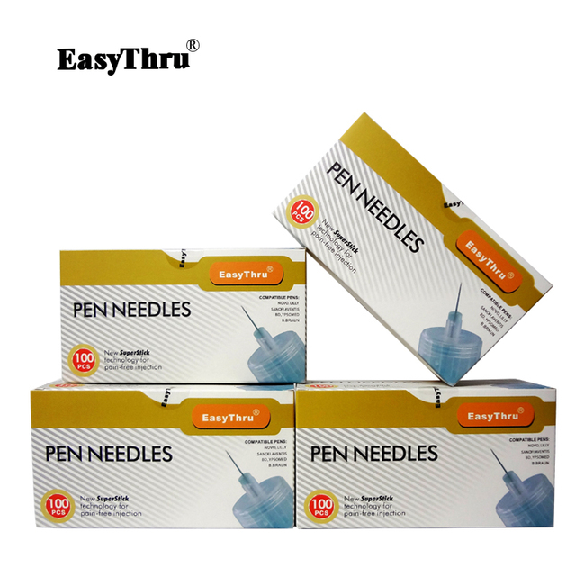 EasyThru 400pcs/lot 32G * 4mm Diabetic Insulin pen injection syringe Medical science home healthcare diabetes insulin pen needle