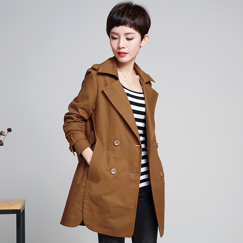 2018 Spring Autumn Female Windbreaker Casual Middle-aged Women Cotton Outerwear Plus size Double-breasted Women   Trench   Coat A579