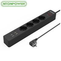 NTONPOWER USB Şarj Adaptörü Ile 4 AC Çıkışı AB Tak soket Surge Protector Gücü Şerit Uzatma Kablosu 1.8 M için Xiaomi iphone