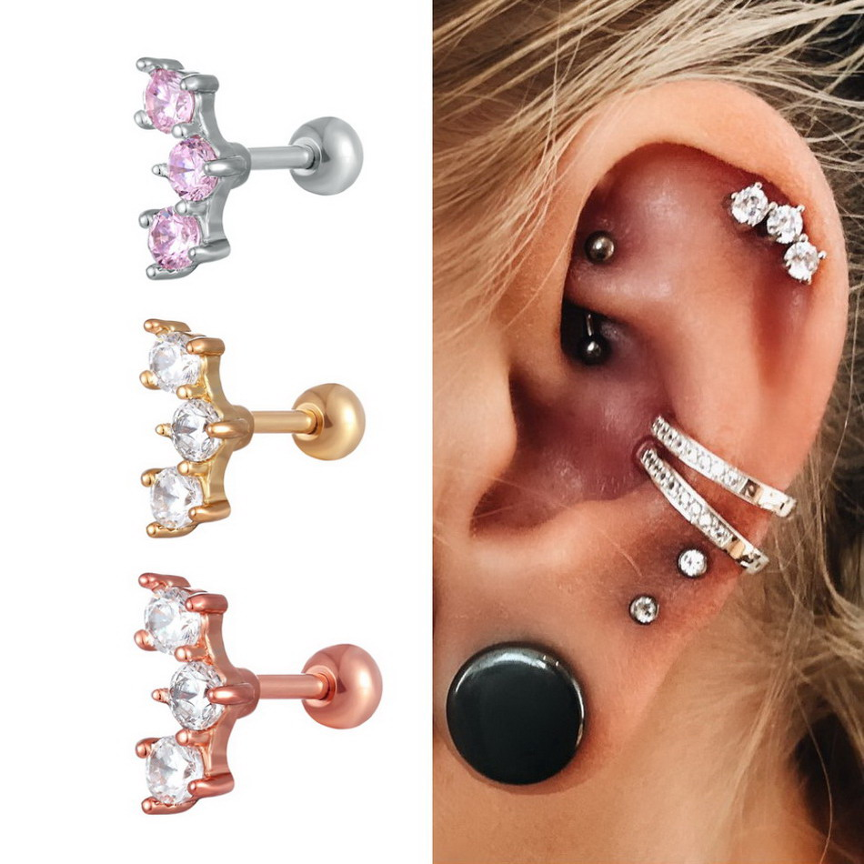 Fashion Ear Cartilage Piercing Ring Crystal Ear Studs 16g Ear