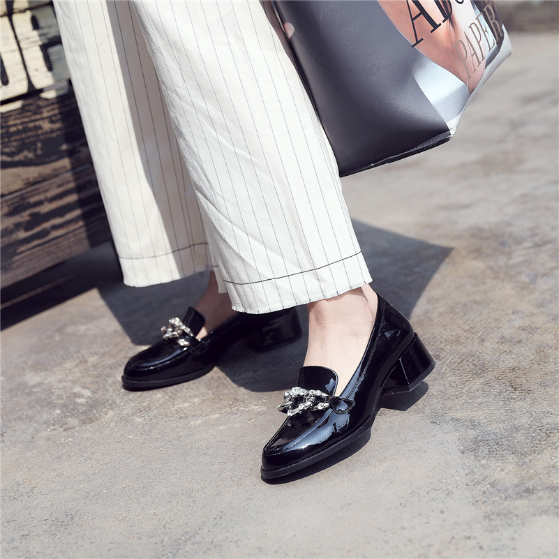 Wedding Red wine New Retro Rhinestone Heeled Fashion Brand Pumps Basic Black Women Office Shoes High Conasco Party Chains w8Taqq
