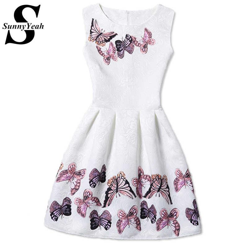 SunnyYeah vestidos mujer летнее женское платье Desigual дамы 2018 Винтаж  бабочка печати повседневное платья для женщин 9480c37c658