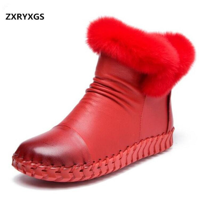 Rabbit Hair First Layer of Leather Boots Winter Shoes Fashion Women Boots 2020 Soft Comfort Warm Snow  Shoes Flat Women Boots