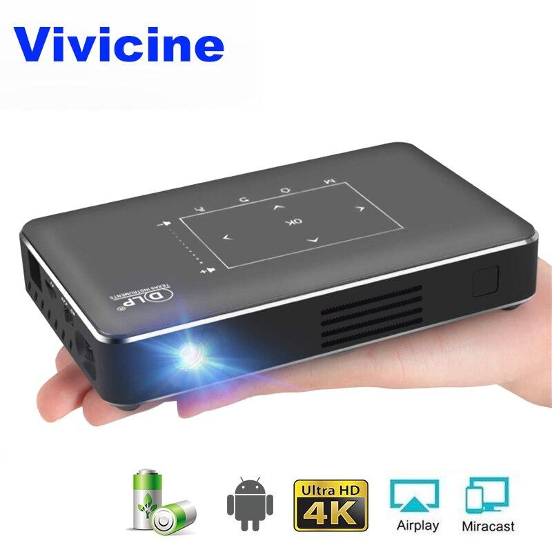 Vivicine P10 4K Mini Projetor, Android 6.0 Bluetooth, bateria de 4100 mAh, HDMI USB PC Game Mobile Pocket Projector Proyector Beamer