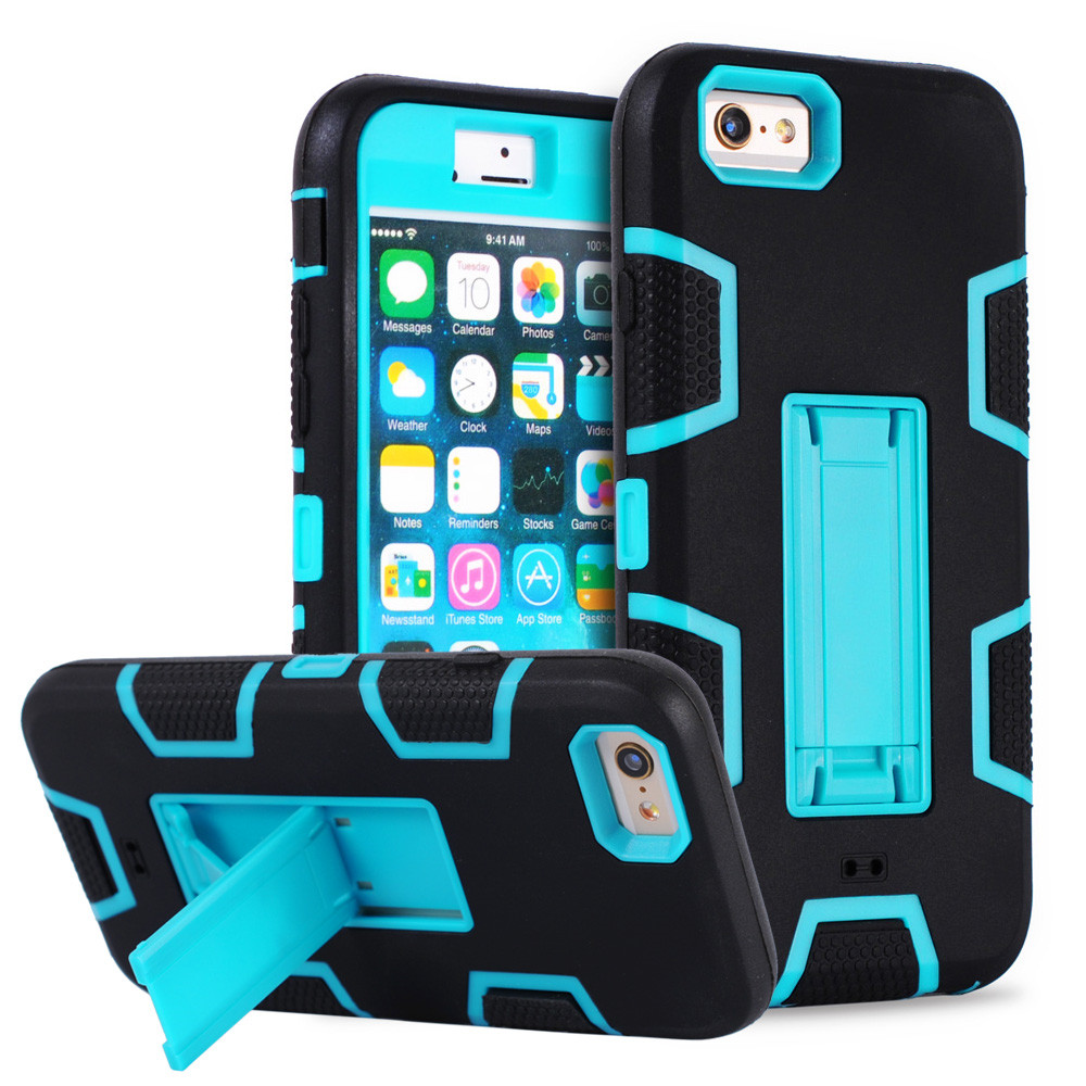 For iPhone 6 Case Silicon Heavy Duty Defender Armor Hard Phone Case For iPhone 6s Plus 6 5s 5 4s 4 Shockproof Stand Holder Cover