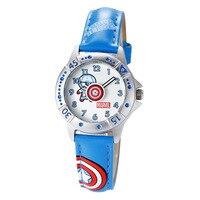 Disney brand children boys watch quartz leather Cartoon Captain America child wristwatch waterproof