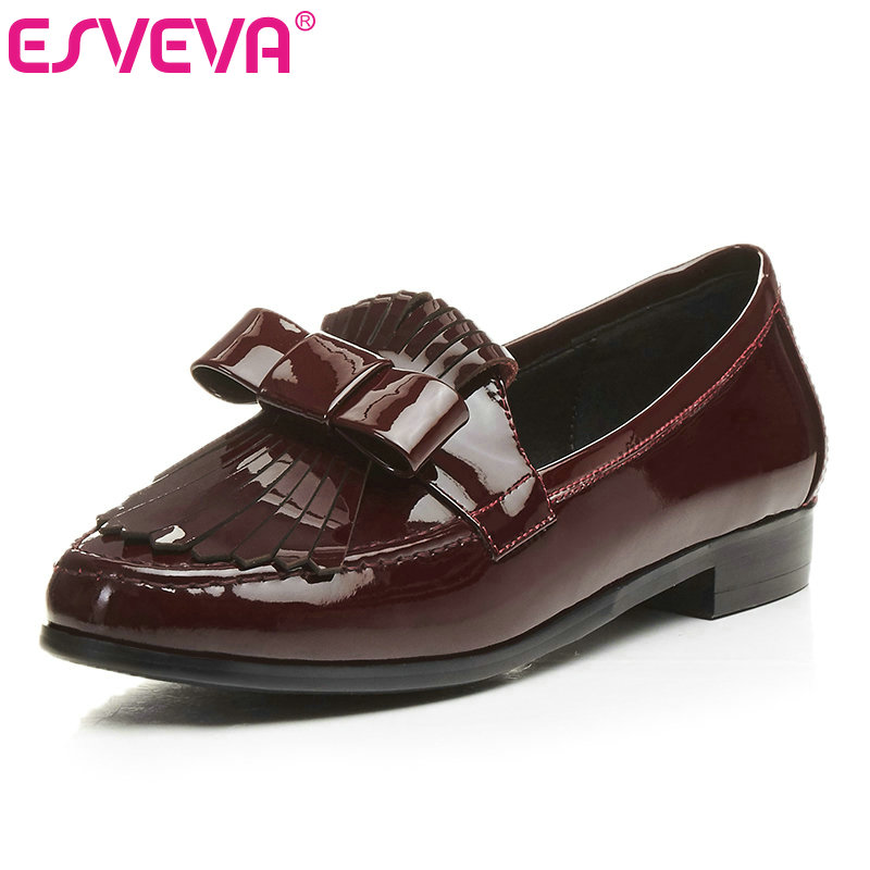ESVEVA 2017 Tassel Square Med Heel Women Pumps Bow Tie Real Leather Spring Shoes Slip on Round Toe Casual Shoes Big Size 34-43 2017 shoes women med heels tassel slip on women pumps solid round toe high quality loafers preppy style lady casual shoes 17