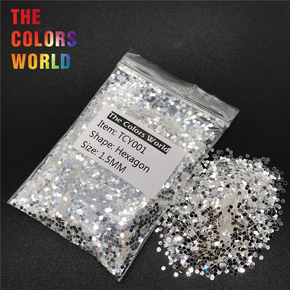 TCY001 Shinning White With Silver Color Hexagon Shape Nail Glitter Nail Art Decoration Nail Gel Face Glitter Makeup Henna DIY диски cd dvd tdk dvd r 4 7g 16x tdkdvd