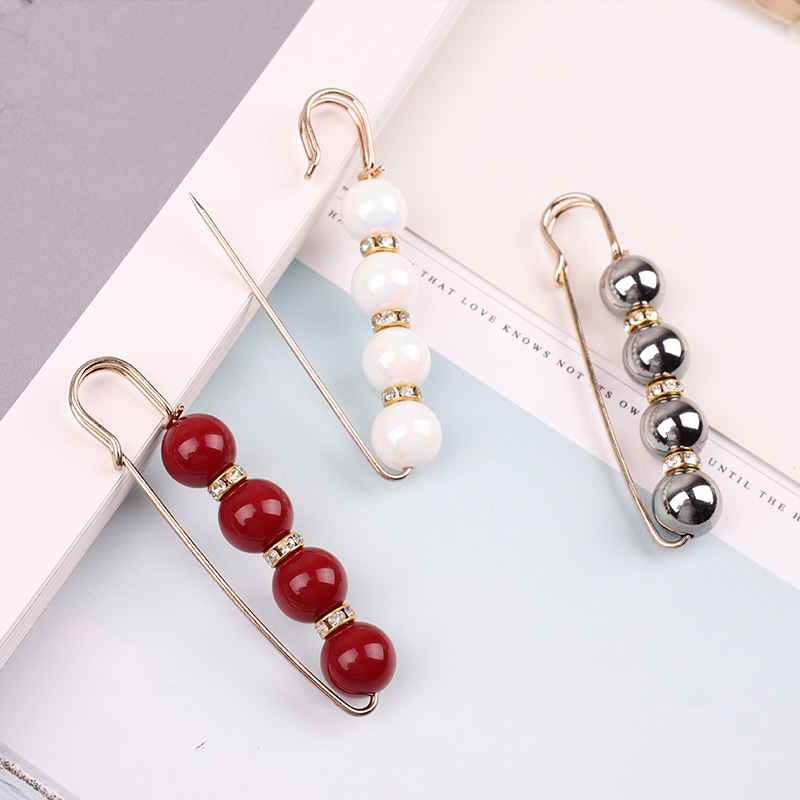 19 High Quality Vintage Gold Brooch Pins Double Head Simulation Pearl Large Big Brooches For Women Wedding Jewelry Accessories 36