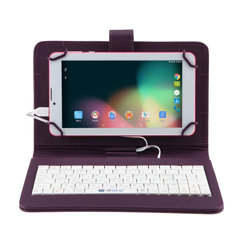 iRULU X6 Phone Call 7″ Tablet Android 7.0 Quad Core 3G Phablet 1024×600 IPS 16GB Ultra Slim Netbook With RUSSIAN Keyboard Case