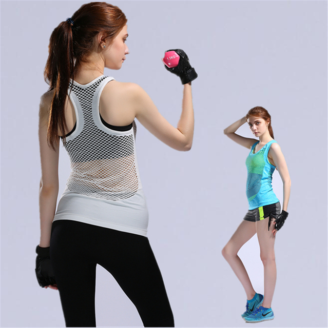 3e501baeb63b9 Womens Yoga Shirts Woman Running Shirt Cool Gym Shirts Yoga Apparel Tank  Tops Fitness Clothes Ladies