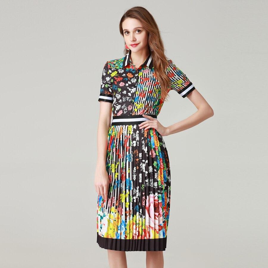 9dd83aca0c04c Mode-Designer-Ensemble-D-t-Femmes-Manches -Courtes-Rayures-Imprim-Floral-l-gant-Chemise-Blouse-Moiti.jpg