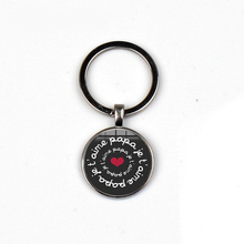 New fashion Je taime dad keychain mens jewelry silver plated charm glass cabochon pendant car ring to send fathers gift love