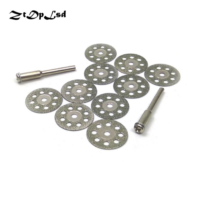 ZtDpLsd 10Pcs 20mm Mini Diamond Grinding Cutting Wheel Discs Sharpener Cut Off Saw Blade +2 Pcs 3mm Shank Rod Dremel Rotary Tool